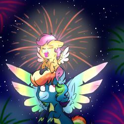 Size: 1000x1000 | Tagged: safe, artist:honneymoonmlp, derpibooru exclusive, rainbow dash, scootaloo, pegasus, pony, clothes, colored wings, duo, eyes closed, fireworks, happy, multicolored wings, rainbow wings, scootalove, spread wings, uniform, wings, wonderbolts uniform