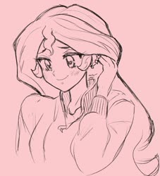 Size: 1444x1590 | Tagged: safe, artist:rileyav, sunset shimmer, equestria girls, anime, blushing, bust, cute, monochrome, pink background, shimmerbetes, simple background, sketch, solo