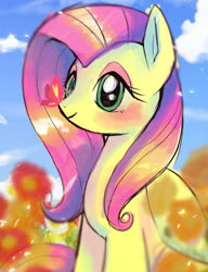 Size: 623x810 | Tagged: safe, artist:hosikawa, fluttershy, butterfly, pegasus, pony, butterfly on nose, cloud, cute, female, flower, folded wings, insect on nose, looking at something, mare, outdoors, shyabetes, sitting, sky, solo, three quarter view, wings