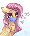 Size: 1600x1900 | Tagged: safe, artist:falafeljake, fluttershy, pegasus, pony, blushing, chest fluff, coronavirus, covid-19, cute, dialogue, face mask, female, looking at you, mare, shyabetes, simple background, solo, stay at home, white background
