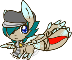 Size: 311x263 | Tagged: safe, artist:14th-crown, oc, oc only, original species, augmented tail, chibi, clothes, hair over one eye, hat, male, scarf, simple background, smiling, solo, transparent background, unshorn fetlocks, wings