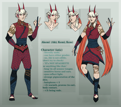 Size: 1462x1300 | Tagged: safe, artist:woofri, oc, oc only, oc:akemi (ide1517), human, clothes, dress, eared humanization, evening gloves, fingerless elbow gloves, fingerless gloves, flats, gloves, horn, horned humanization, humanized, humanized oc, jewelry, leg wraps, long gloves, nonbinary, one eye closed, pants, reference sheet, regalia, shirt, shoes, skirt, solo, tongue out, translation, wink