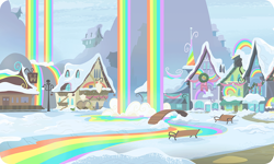 Size: 954x572 | Tagged: safe, background, bench, bridge, building, cabin, christmas wreath, gameloft, lantern, liquid rainbow, mountain, no pony, outdoors, rainbow, rainbow falls (location), rainbow waterfall, sign, snow, train station, wreath