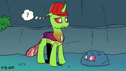 Size: 1200x675 | Tagged: safe, artist:pony-berserker, oc, oc:berzie, oc:dopple, changedling, changeling, confused, disguise, disguised changeling, hard hat, i can't believe it's not idw, question mark, rock, thought bubble