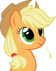Size: 2180x2752 | Tagged: safe, artist:foxtail8000, applejack, earth pony, pony, .svg available, applejack's hat, bust, cowboy hat, cute, female, freckles, hat, inkscape, jackabetes, mare, ponyscape, simple background, smiling, solo, straw in mouth, transparent background, vector