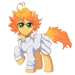 Size: 1200x1200 | Tagged: safe, artist:nathayro37, oc, earth pony, pony, clothes, emma (the promised neverland), ponified, simple background, solo, the promised neverland, transparent background