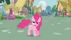 Size: 1920x1080 | Tagged: safe, screencap, pinkie pie, earth pony, pony, it's about time, animation error, female, looking at you, mare, solo, tail