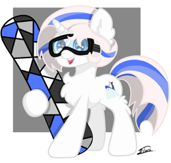 Size: 2625x2500 | Tagged: safe, artist:minty joy, oc, oc:snow pearl, earth pony, pony, chest fluff, ear fluff, mascot, simple background, snow, snowboard, solo, weponies