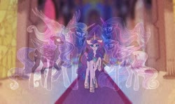 Size: 1920x1137   Tagged: safe, artist:blitsazalisdash, princess cadance, princess celestia, princess flurry heart, princess luna, twilight sparkle, alicorn, ghost, undead, the last problem, crying, older, older flurry heart, princess twilight 2.0, twilight sparkle (alicorn)