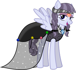 Size: 1920x1765 | Tagged: safe, artist:meimisuki, inky rose, pegasus, pony, bedroom eyes, clothes, commission, dress, eyeshadow, female, gala dress, jewelry, makeup, mare, open mouth, regalia, simple background, solo, transparent background