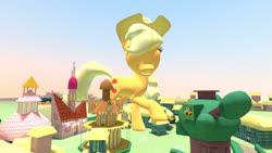 Size: 1366x768 | Tagged: safe, artist:gmodpon-e, applejack, pony, 3d, 3d model, female, giant pony, giantess, gmod, hat, macro, mare, ponyville, raised hoof, stetson hat, tree