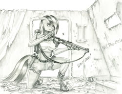 Size: 1400x1075 | Tagged: safe, artist:baron engel, marble pie, anthro, earth pony, pony, delisle carbine, female, gun, mare, monochrome, pencil drawing, solo, story included, traditional art, weapon
