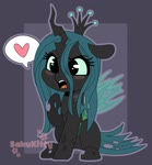 Size: 1900x2048 | Tagged: safe, artist:sakukitty98, queen chrysalis, changeling, changeling queen, angry, blushing, chibi, cute, cutealis, female, floppy ears, heart, madorable, open mouth, pictogram, sitting, solo, speech bubble