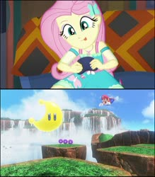 Size: 720x821 | Tagged: safe, edit, edited screencap, screencap, fluttershy, equestria girls, game stream, spoiler:eqg series (season 2), cropped, cute, fluttershy plays, mario, nintendo, nintendo switch, playing video games, power moon, super mario bros., super mario odyssey, tongue out, video game