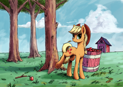 Size: 2021x1421 | Tagged: safe, artist:smg11-on-ddjrb, applejack, earth pony, pony, apple, apple tree, applebucking, bucket, cowboy hat, farm, female, food, hat, lineart, looking at you, mare, solo, straw in mouth, tree