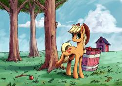 Size: 2021x1421 | Tagged: safe, artist:smg11-on-ddjrb, applejack, earth pony, pony, apple, farm, food, lineart, solo
