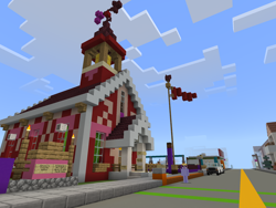 Size: 2048x1536 | Tagged: safe, artist:topsangtheman, cloud kicker, flag, game screencap, minecraft, ponyville schoolhouse