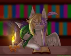 Size: 1920x1514   Tagged: safe, artist:redheartponiesfan, oc, oc only, oc:naomi, oc:natsumi, pegasus, pony, book, bookshelf, candle, female, mare, sleeping