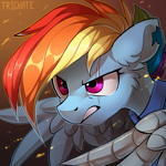 Size: 3000x3000 | Tagged: safe, artist:trickate, rainbow dash, pegasus, pony, the cutie re-mark, alternate timeline, amputee, apocalypse dash, artificial wings, augmented, badass, bust, crystal war timeline, ear fluff, eye scar, female, high res, injured, mare, portrait, prosthetic limb, prosthetic wing, prosthetics, scar, solo, war, warrior, wings