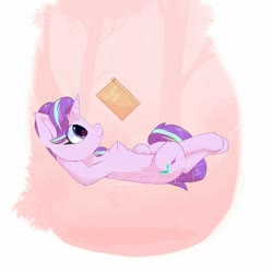 Size: 1500x1500 | Tagged: safe, artist:glazirka, starlight glimmer, pony, unicorn, book, lying down, reading, solo