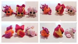 Size: 1280x720 | Tagged: safe, artist:dawn-designs-art, apple bloom, scootaloo, sweetie belle, earth pony, pegasus, pony, unicorn, chibi, craft, cutie mark crusaders, photo, sculpey, sculpture