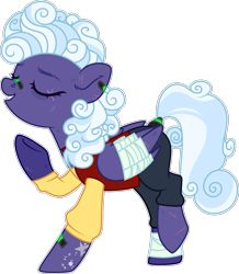 Size: 2274x2605 | Tagged: safe, artist:rerorir, rolling thunder, pegasus, pony, icey-verse, alternate hairstyle, bandage, bandaid, clothes, commission, ear piercing, earring, eye scar, eyes closed, female, high res, jeans, jersey, jewelry, mare, older, pants, piercing, raised hoof, raised leg, redesign, scar, shirt, simple background, solo, t-shirt, tattoo, transparent background