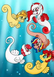 Size: 1920x2716 | Tagged: safe, artist:dawn-designs-art, oc, oc:indonisty, oc:kwankao, oc:pearl shine, oc:rosa blossomheart, oc:temmy, pony, sea pony, project seaponycon, convention, g3 style, group, indonesia, malaysia, mascot, nation ponies, philippines, seaponified, shoo be doo, singapore, species swap, thailand, water