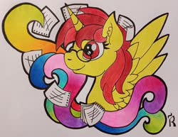 Size: 3783x2920 | Tagged: safe, artist:dawn-designs-art, oc, oc:talicorn, alicorn, pony, abstract, bust, pencil drawing, photo, portrait, solo, traditional art