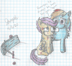 Size: 3496x3244   Tagged: safe, artist:mlplayer dudez, rainbow dash, scootaloo, pegasus, pony, cel shading, cheek fluff, chest fluff, colored, comforting, crying, cutie mark, dialogue, duo, ear fluff, female, folded wings, graph paper, hug, injured, lined paper, mare, scootalove, scooter, shading, siblings, signature, sisters, smiling, tail wrap, traditional art, winghug, wings