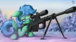Size: 1920x1080 | Tagged: safe, artist:tinybenz, oc, oc:twinstar, pegasus, pony, goggles, gun, m200 intervention, one eye closed, pegasus oc, rifle, sniper rifle, snow, solo, weapon, wings