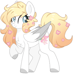 Size: 2048x2048 | Tagged: safe, artist:cinnamontee, oc, oc only, oc:ember, pegasus, pony, chest fluff, female, flower, flower in hair, mare, simple background, solo, transparent background, two toned wings, wings