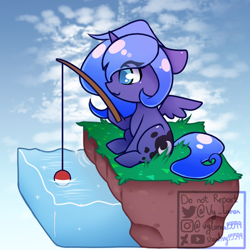 Size: 780x780 | Tagged: safe, artist:thanhvy15599, princess luna, alicorn, pony, animal crossing, chibi, dirt cube, fishing, fishing rod, sky background