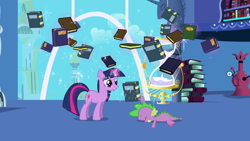 Size: 1920x1080 | Tagged: safe, screencap, spike, twilight sparkle, dragon, pony, unicorn, friendship is magic, book, bookshelf, hourglass, twilight's canterlot home, unicorn twilight, window