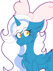 Size: 2400x3200 | Tagged: safe, artist:fxll9w, oc, oc:fleurbelle, alicorn, alicorn oc, bow, cheek fluff, chest fluff, cute, ear fluff, female, hair bow, happy, mare, simple background, smiling, transparent background, yellow eyes