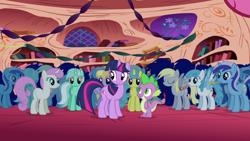 Size: 1920x1080 | Tagged: safe, screencap, cloud kicker, derpy hooves, lemon hearts, lightning bolt, lyra heartstrings, minuette, spike, twilight sparkle, twinkleshine, white lightning, dragon, pegasus, pony, unicorn, friendship is magic, female, golden oaks library, male, mare, unicorn twilight