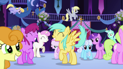 Size: 1920x1080 | Tagged: safe, screencap, amethyst star, carrot top, cloud kicker, daisy, derpy hooves, flower wishes, golden harvest, lyra heartstrings, sparkler, twinkleshine, earth pony, pegasus, pony, unicorn, friendship is magic