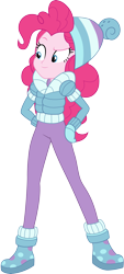Size: 2718x6000 | Tagged: safe, artist:cloudyglow, pinkie pie, equestria girls, equestria girls series, holidays unwrapped, spoiler:eqg series (season 2), .ai available, beanie, clothes, female, hat, leggings, simple background, solo, transparent background, vector, winter outfit