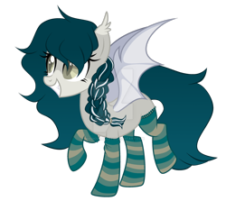 Size: 1280x1141 | Tagged: safe, artist:magicdarkart, oc, oc only, bat pony, pony, bat pony oc, bat wings, braid, clothes, colored pupils, deviantart watermark, ear tufts, fangs, female, grin, mare, obtrusive watermark, simple background, slit eyes, slit pupils, smiling, socks, solo, striped socks, transparent background, watermark, wings