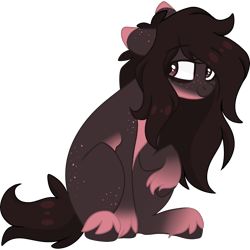 Size: 2048x2048 | Tagged: safe, artist:cinnamontee, oc, oc only, oc:elise oliver, earth pony, pony, brown mane, looking at you, messy mane, raised hoof, solo