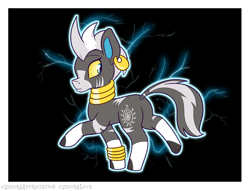Size: 1700x1300 | Tagged: safe, artist:heir-of-rick, zecora, blitzle, zebra, alternate color sheme, pokefied, pokémon, solo, species swap