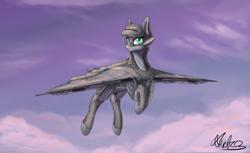 Size: 3600x2200 | Tagged: safe, artist:andromailus, oc, oc only, original species, plane pony, pony, ace combat, cloud, p-1112 aigaion, plane, solo