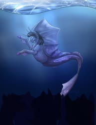 Size: 1108x1432 | Tagged: safe, artist:rxsiexx3, pony, siren, cloven hooves, commission, curved horn, fangs, fins, fish tail, horn, kellin quinn, male, ponified, scales, sleeping with sirens, solo, swimming, underwater, water, ych result