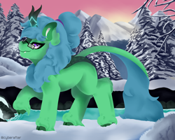 Size: 5000x4000 | Tagged: safe, artist:cyberafter, oc, oc only, oc:lex rudera, kirin, forest, mountain, painted, river, snow, solo, tree, winter