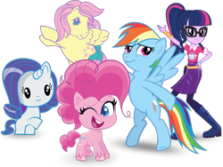 Size: 666x500 | Tagged: safe, fluttershy, pinkie pie, rainbow dash, rarity, sci-twi, twilight sparkle, equestria girls, my little pony: pony life, spoiler:eqg series, spoiler:eqg series (season 2), cutie mark crew, g1, g4 to g1, generation leap, simple background, toy, transparent background