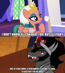 Size: 1280x1440 | Tagged: safe, edit, edited screencap, editor:jaredking203, screencap, king sombra, somnambula, pegasus, pony, unicorn, shadow play, the beginning of the end, caption, curved horn, eyeshadow, female, horn, image macro, makeup, male, mare, meme, red eyes, stallion, text, throne room, twilight's castle