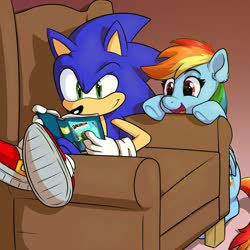 Size: 2000x2000 | Tagged: safe, artist:thedrawvoid, rainbow dash, pegasus, pony, daring do adventure collection, daring do and the forbidden city of clouds, book, chair, reading, sonic the hedgehog, sonic the hedgehog (series)