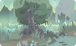 Size: 954x572 | Tagged: safe, artist:mysteriousshine, background, mushroom, no pony, outdoors, river, swamp, tree