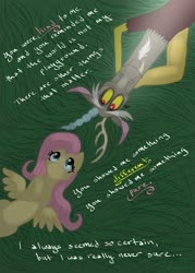Size: 2343x3264 | Tagged: safe, artist:pinstriped-pajamas, discord, fluttershy, draconequus, pegasus, pony, discoshy, female, grass, hooves to the chest, looking away, looking up, lyrics, lyrics in the description, male, mare, on back, outdoors, shipping, smiling, song in the description, song reference, spread wings, sting, straight, text, wings