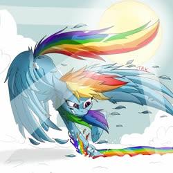 Size: 1280x1280 | Tagged: safe, artist:kittheredkitsune, rainbow dash, pegasus, pony, cheek fluff, cloud, crepuscular rays, deviantart watermark, ear fluff, feather, female, leg fluff, mare, obtrusive watermark, on a cloud, rainbow, sky, smiling, solo, sun, watermark