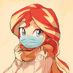 Size: 600x602 | Tagged: safe, artist:baekgup, edit, sunset shimmer, equestria girls, clothes, coronavirus, covid-19, cute, daaaaaaaaaaaw, facemask, female, hnnng, looking at you, scarf, shimmerbetes, solo, sweater, weapons-grade cute